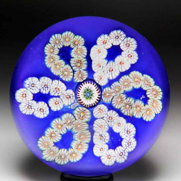 Extremely rare antique Clichy millefiori flower miniature faceted paperweight. by Antique Saint Louis