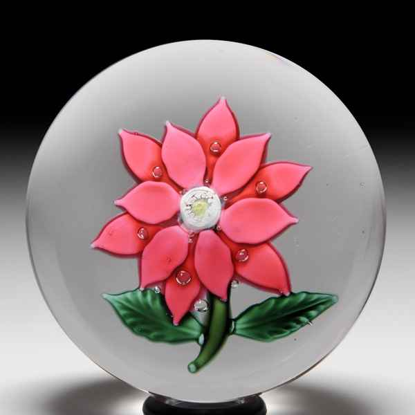 Antique New England Glass Company red rose and bud paperweight. by  American