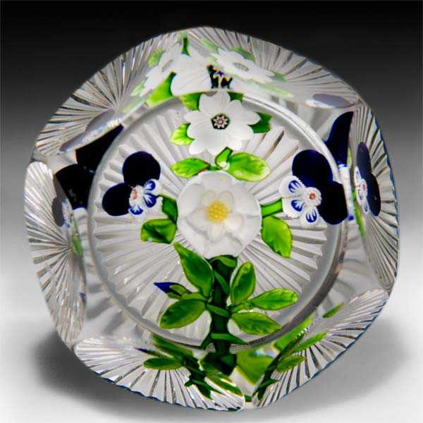 Rare antique Baccarat flat bouquet faceted glass paperweight. by  Baccarat Antique