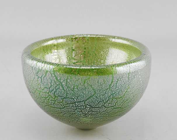Bowl/Aqua Silver Leaf