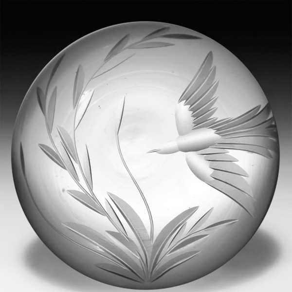 Vandermark-Merritt 1982 'Eagle' etched surface design paperweight, by Barry Sautner. by Vandermark-Merritt Studios