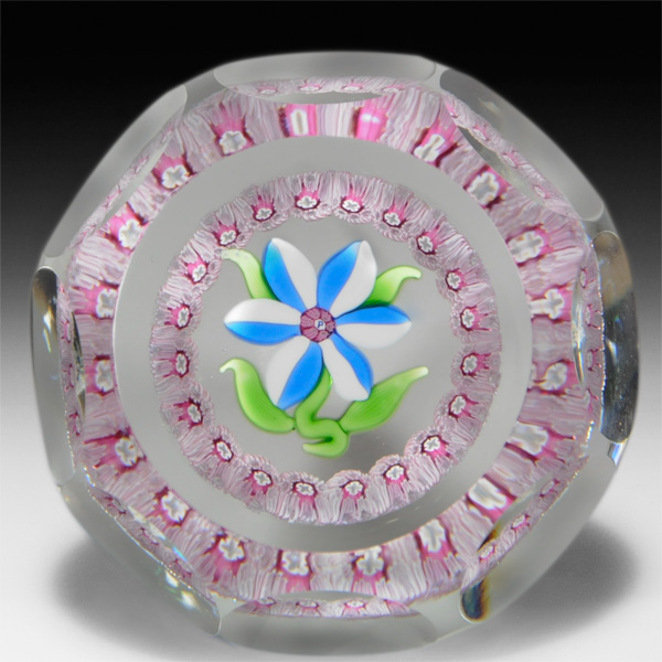 Perthshire Paperweights blue and white flower faceted paperweight. by  Perthshire Paperweights