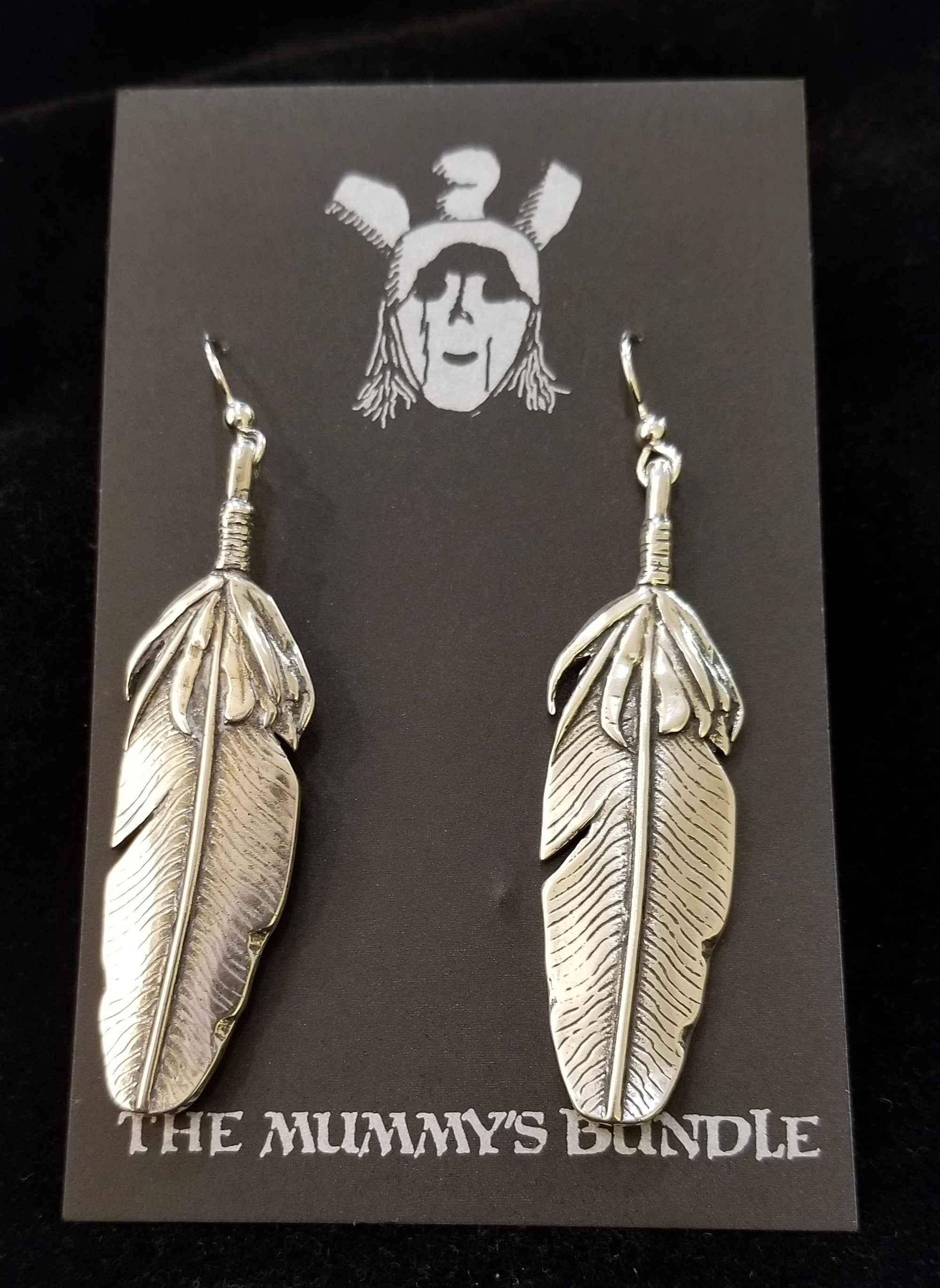 Silver Feather Earrin...