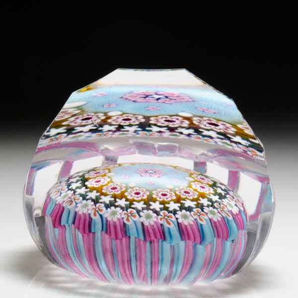 Damon MacNaught 2016 close concentric millefiori and roses paperweight. by Damon MacNaught
