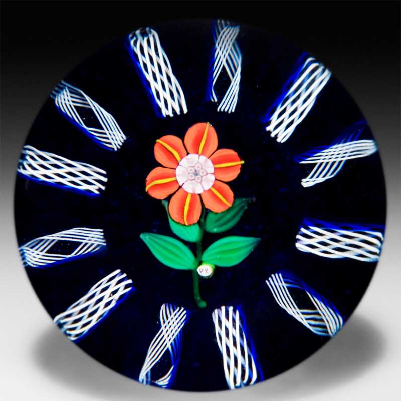 Paul Ysart millefiori butterfly and garland paperweight. by Paul Ysart