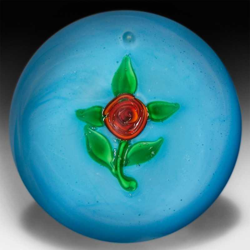 Ronald Hansen blue crimp rose pedestal miniature paperweight. by Ronald Hansen