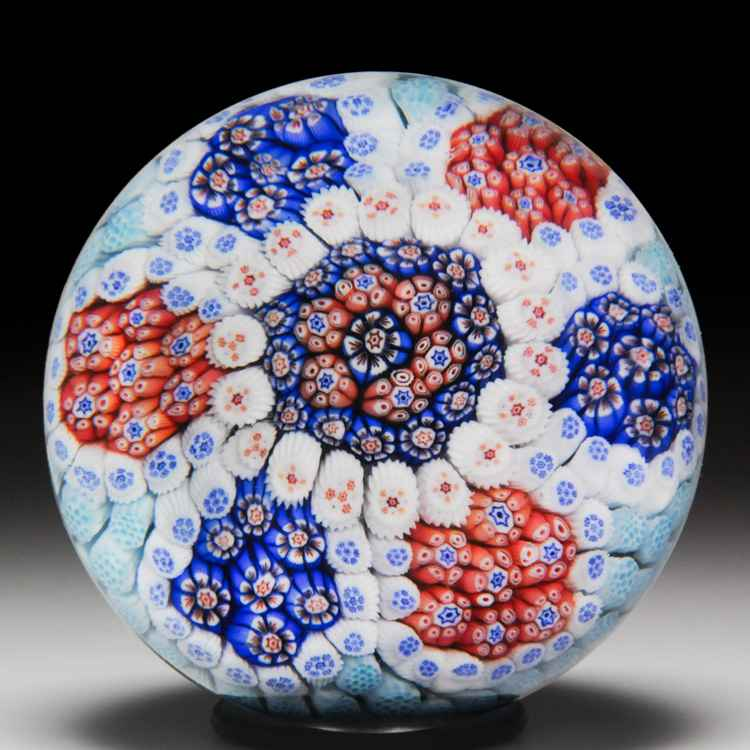 Antique Baccarat blue and white primrose miniature paperweight. by Antique Baccarat