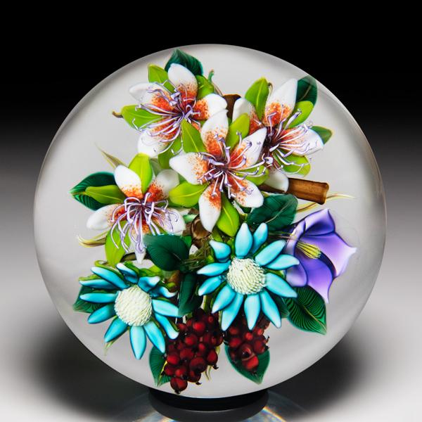 Ken Rosenfeld 2020 berry and flower bouquet paperweight. by Ken Rosenfeld