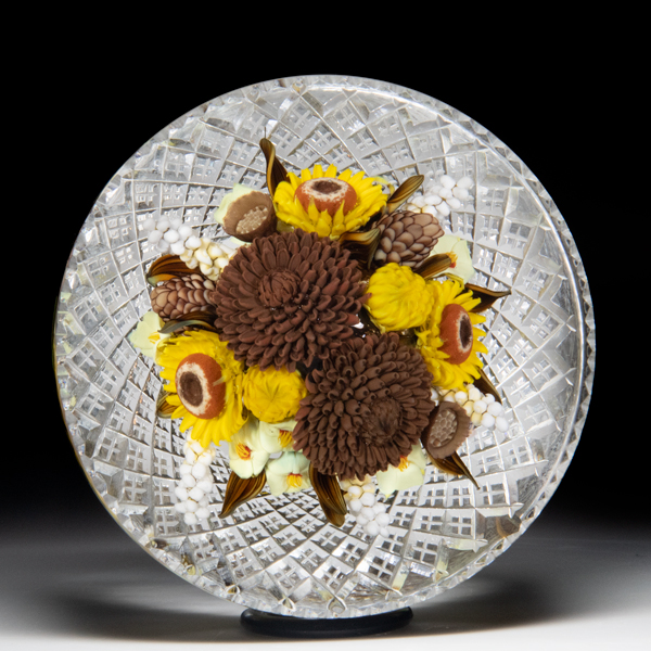 David Graeber and Jim Poore 2020 collaborative brown mum and sunflower fall bouquet fancy-cut paperweight. by David Graeber