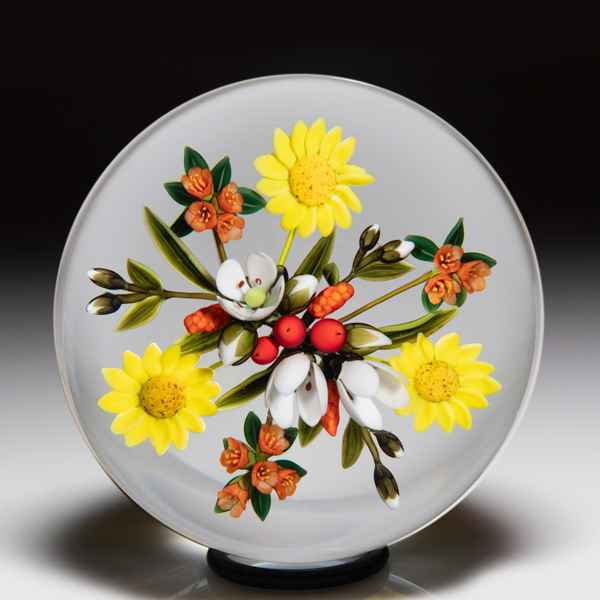 Andrew Byers 2004 yellow rose and blue lilac bouquet paperweight. by Andrew Byers