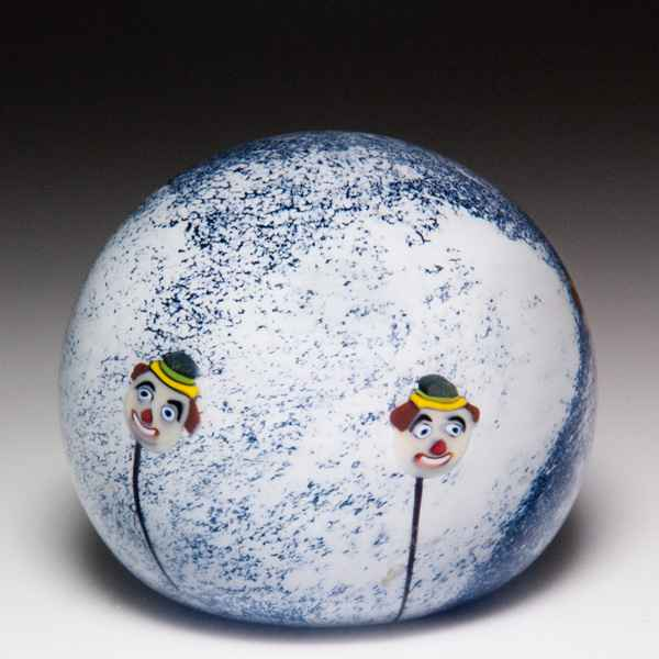 Mike Hunter 2020 close concentric millefiori, roses and dancing couple silhouette paperweight. by Twists Glass Studio