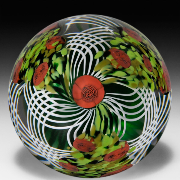 Mike Hunter 2020 close concentric millefiori and pansy paperweight. by Twists Glass Studio