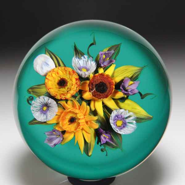 Melissa Ayotte 2020 carnations and daisy bouquet paperweight. by Melissa Ayotte