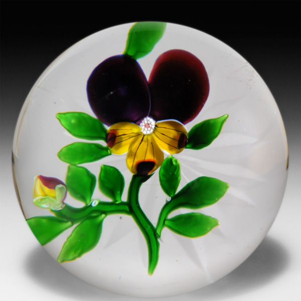 Antique Baccarat pansy and bud paperweight. by  Baccarat Antique