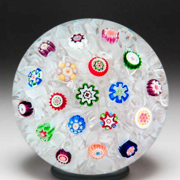 Antique Baccarat white and blue anemone miniature paperweight. by  Baccarat Antique
