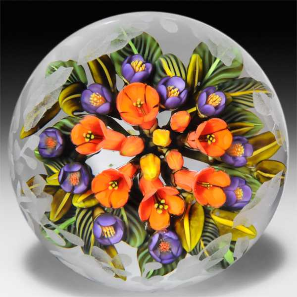 Cathy Richardson 2013 'Trumpet Fantasy' trumpet flowers and crocus bouquet etched glass paperweight. by Cathy Richardson
