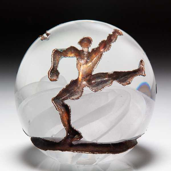 Andrew Fote painted angel sulphide magnum paperweight. by Andrew Fote