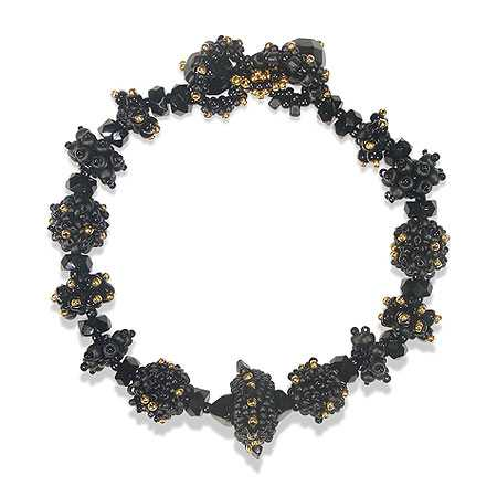 Roxie LaSoya bracelet of black & gold glass beads by Roxie J. LaSoya