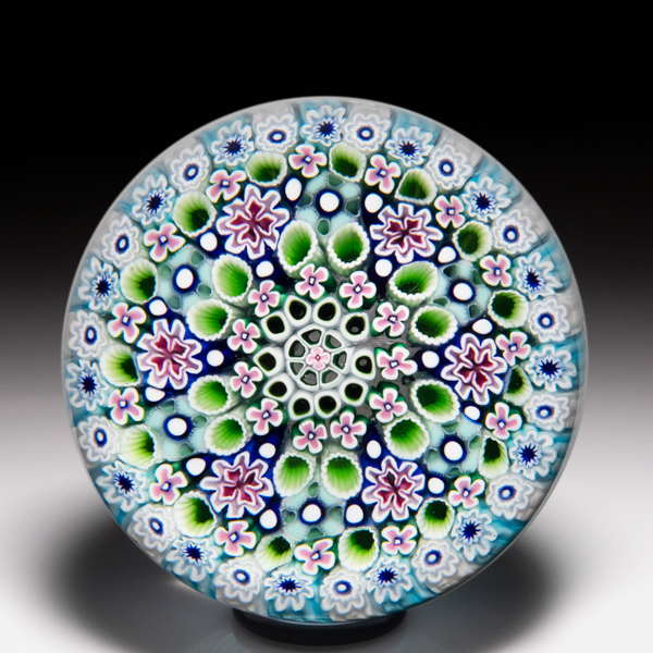 Damon MacNaught 2019 close concentric millefiori faceted paperweight. by Damon MacNaught
