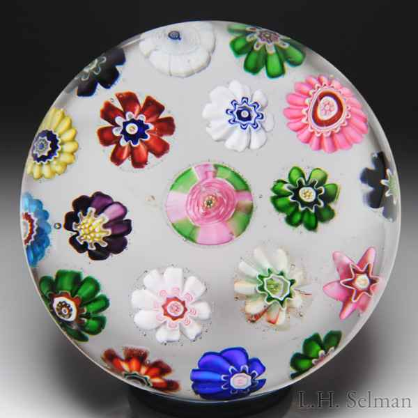 Antique Clichy concentric millefiori and roses miniature paperweight. by  Clichy