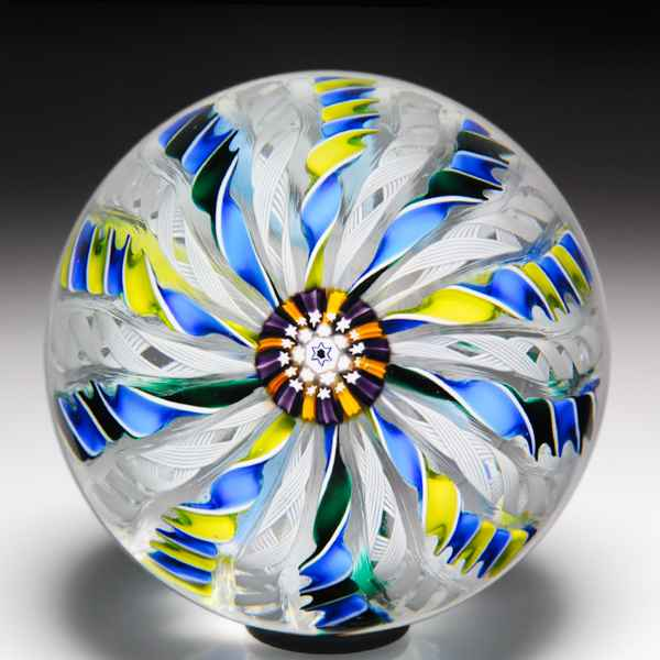 John Deacons 2002 three-colored crown paperweight. by John Deacons