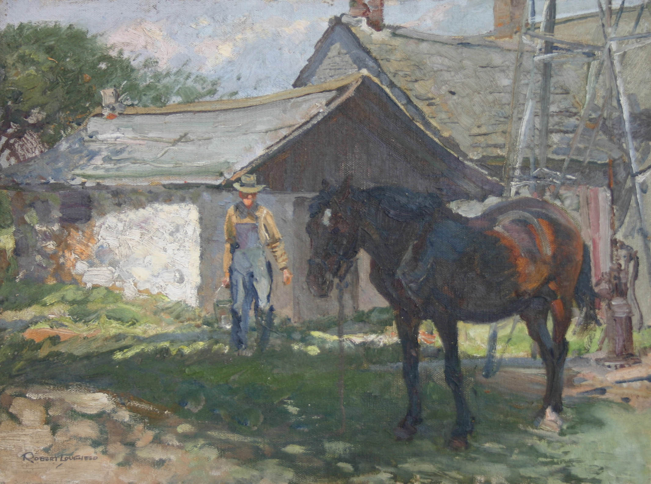 Farmer and Horse by  Robert Lougheed - Masterpiece Online