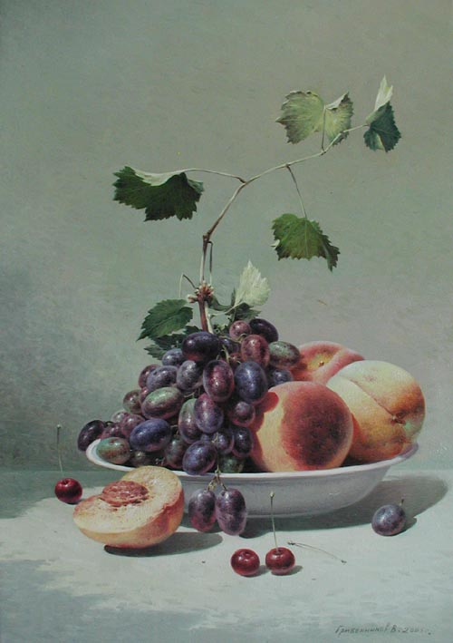 Still Life Peaches & ... by  Vasily Gribennikov - Masterpiece Online
