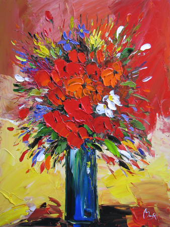 Orange and Red Bouquet by  Louis  Magre - Masterpiece Online