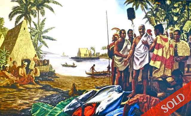 Kamehameha at Kamakah... by  Herb Kawainui Kane (1928-2011) - Masterpiece Online
