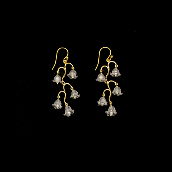 Lily of the Valley Long Wire Earrings