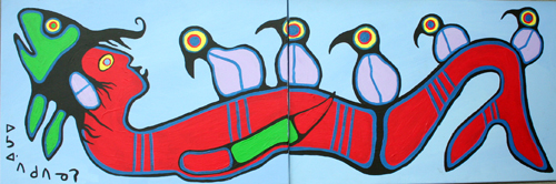 Shaman Transforming i... by  Norval Morrisseau - Masterpiece Online