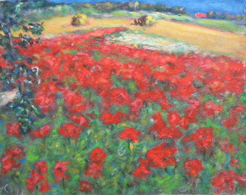 Farm with Poppies Fie... by  Andres  Morillo - Masterpiece Online