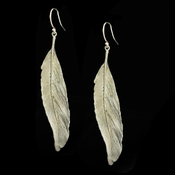 Feather Silver Long Single Wire Earrings