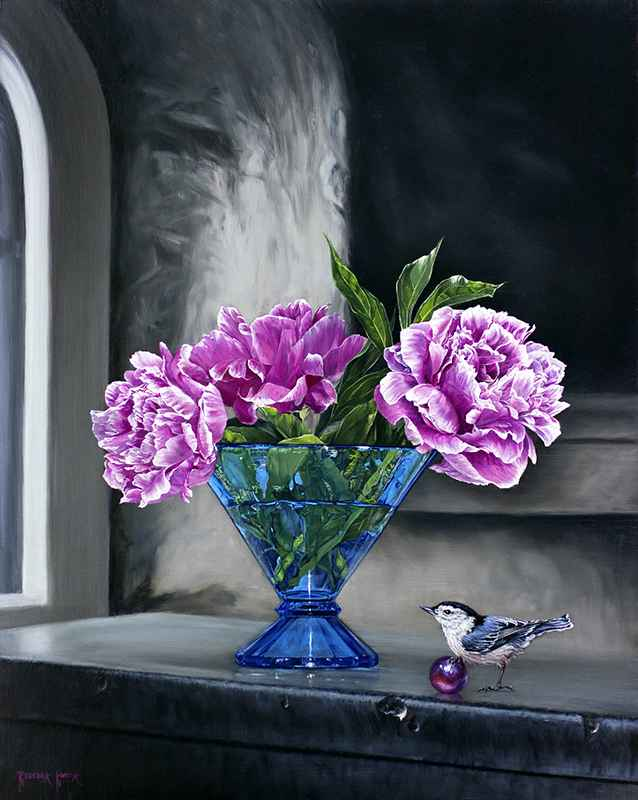 Nuthatch & Pink Peonies