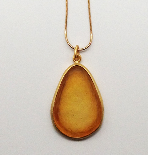 Large Pear Shape Pendant in Brown
