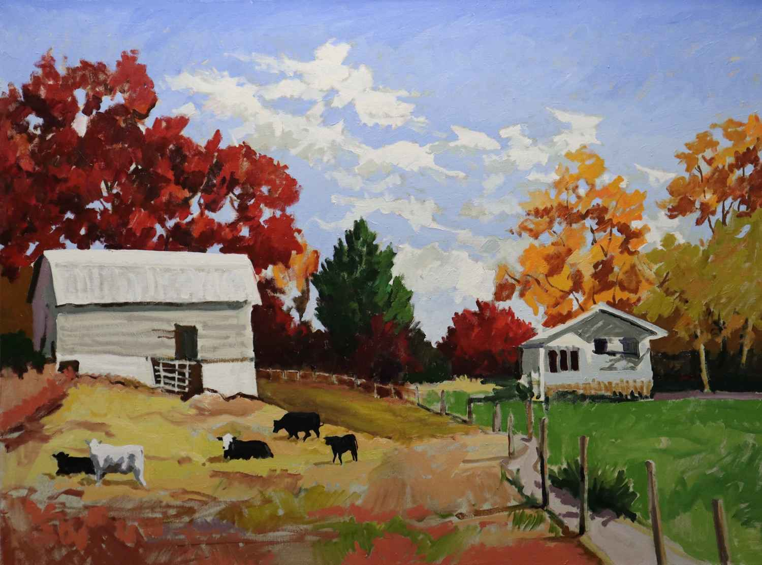 Farm in Autumn by  Joseph Cave - Masterpiece Online