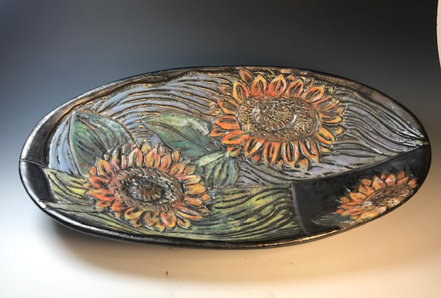 Large Oval Sunflower Bowl