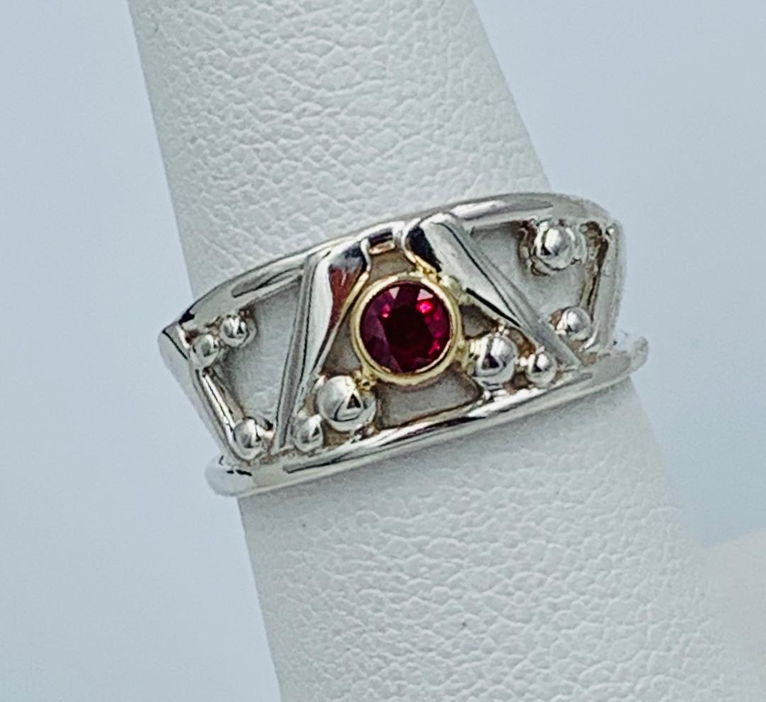 Ruby Ring in S/S, 14kt Yellow Gold, .32 Ruby. Size 6.25