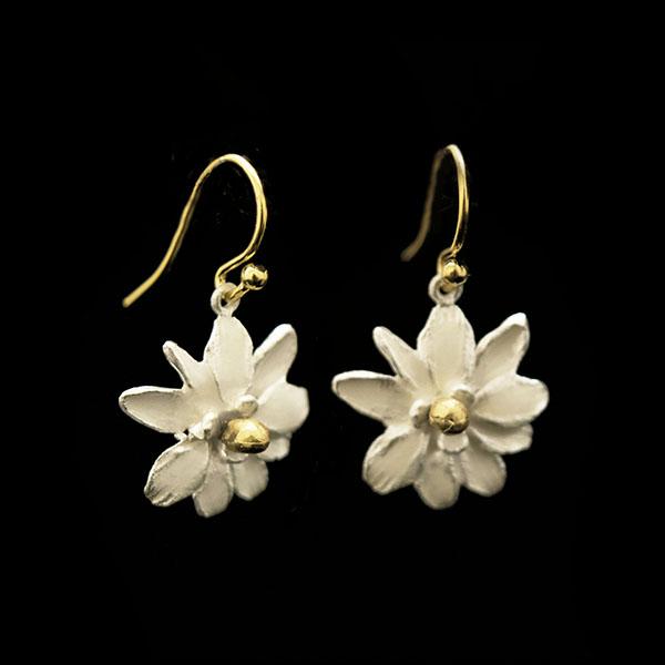 Magnolia Flower Wire Earrings
