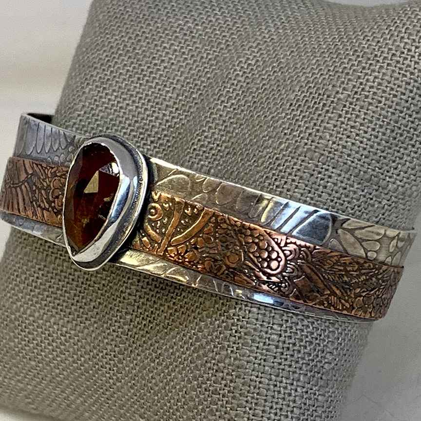 Grossular Garnet, Sterling and Copper Cuff