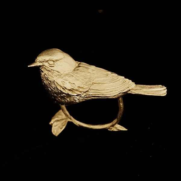 Warbler Napkin Rings, Gold