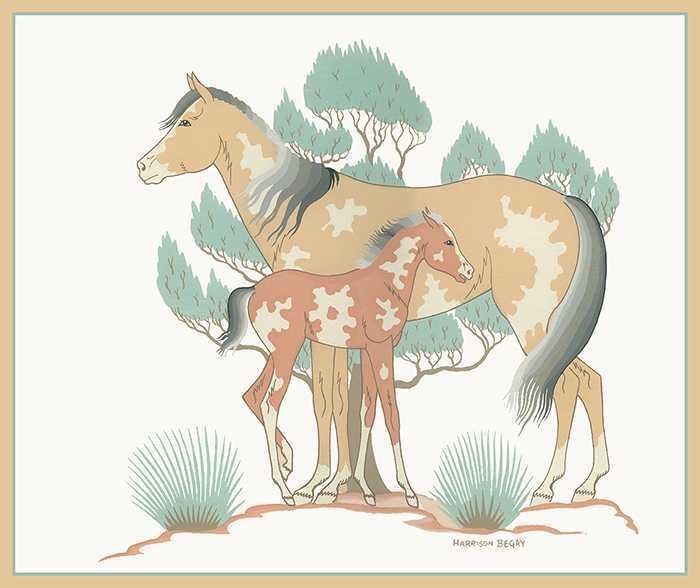 Navajo Ponies by  Harrison Begay - Masterpiece Online