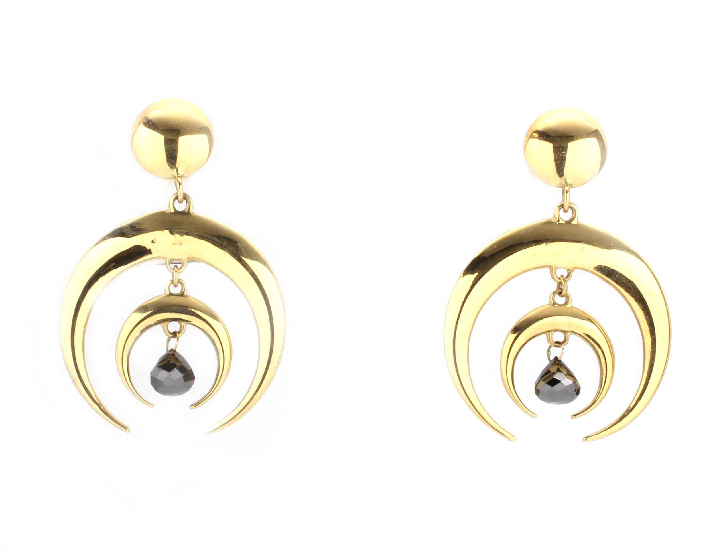 en brass golden moon full small big and earrings