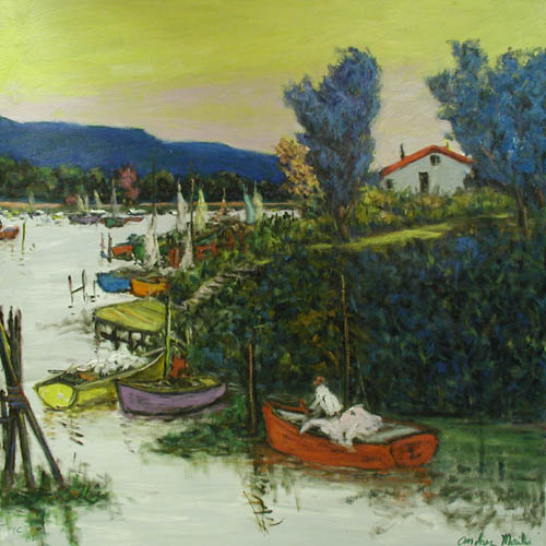 Old Harbor with Blue ... by  Andres  Morillo - Masterpiece Online