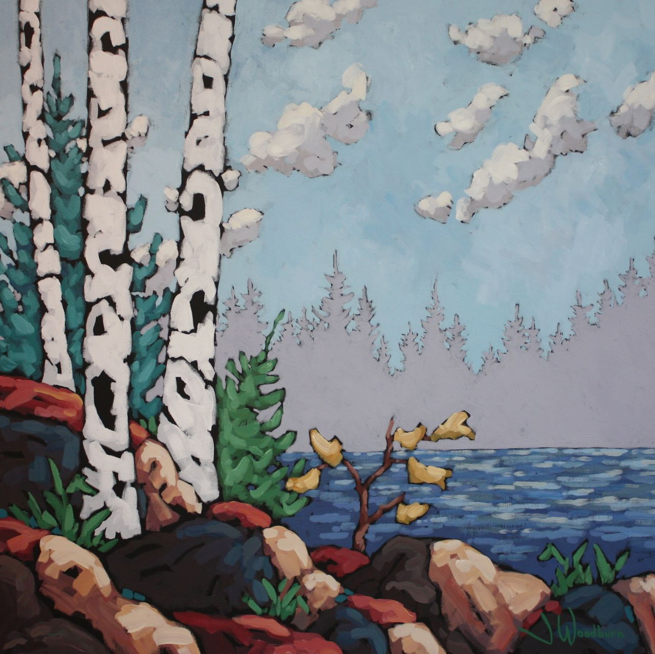 Birches by the Shore by Ms Jennifer Woodburn - Masterpiece Online