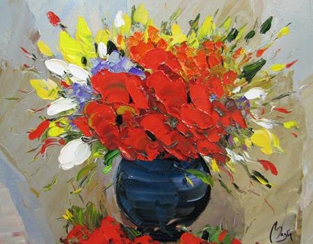 Bouquet in Blue Vase by  Louis  Magre - Masterpiece Online