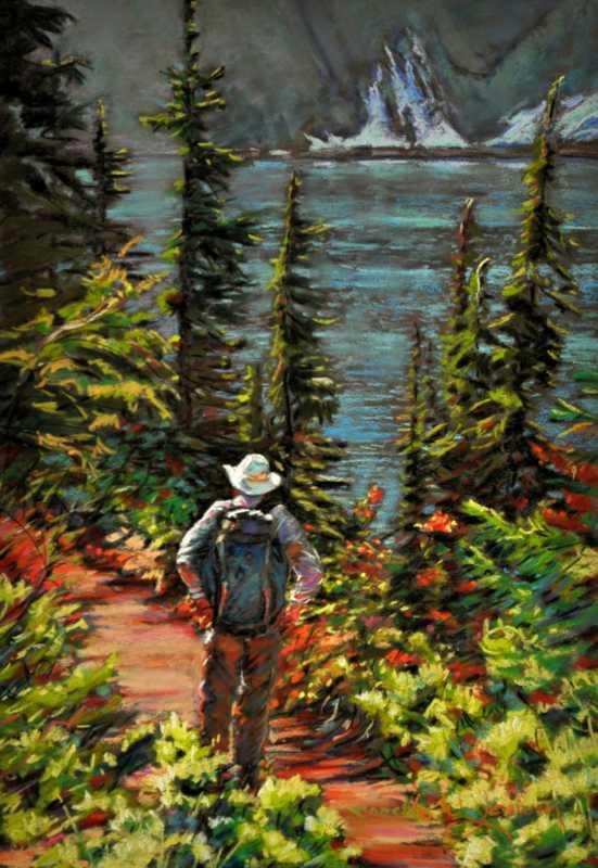 Hiker at Snow Lake II by  Jannelle Loewen - Masterpiece Online