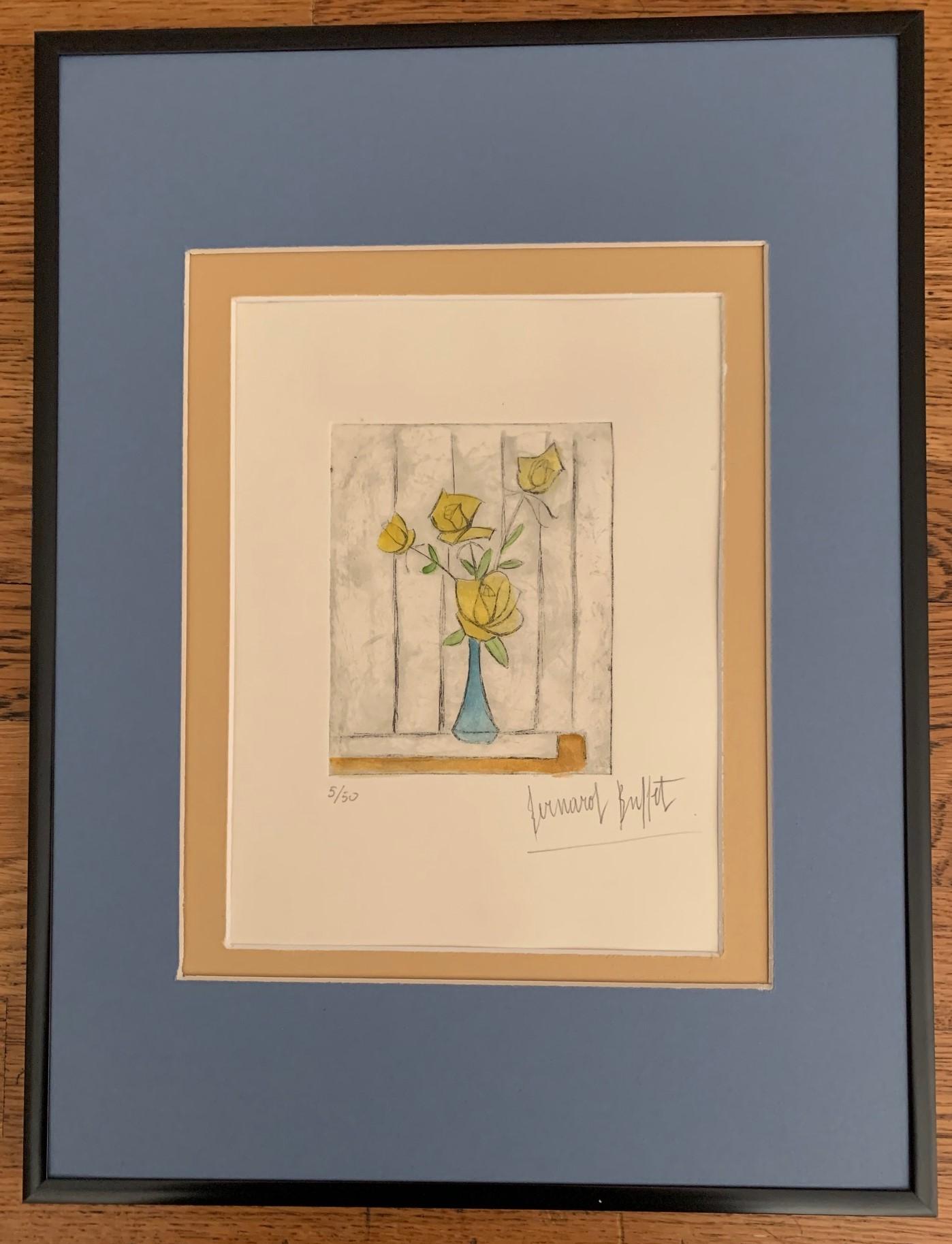 Yellow Roses in a Blu... by  Bernard Buffet - Masterpiece Online