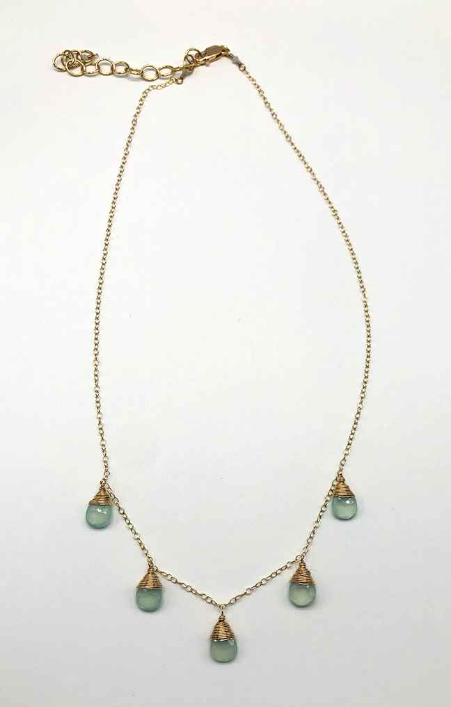 Aqua Chalcedony Necklace, Gold-filled chain 16