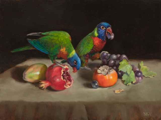 Lorikeets and Fruit  by  Mary Kay  West